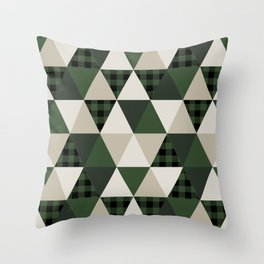 Hunter Green camping cabin glamping cheater quilt baby nursery gender neutral Throw Pillow