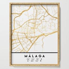 MALAGA SPAIN CITY STREET MAP ART Serving Tray