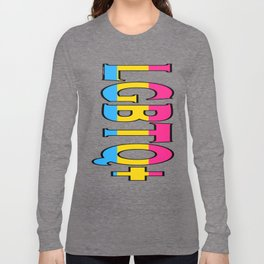 LGBTQ+ Font with Pansexual Flag Long Sleeve T-shirt