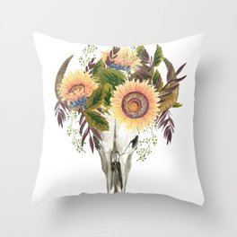 Bohemian bull skull with flowers Throw Pillow