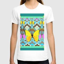 Green Art Deco Yellow Butterflies Pattern T-shirt