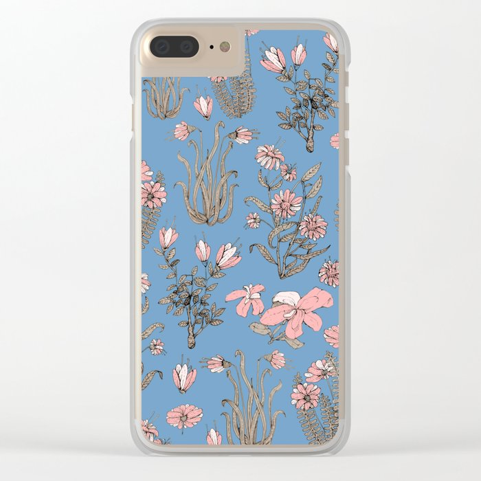 Flowers on Blue! Clear iPhone Case