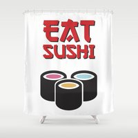 sushi Shower Curtains featuring Sushi by flydesign