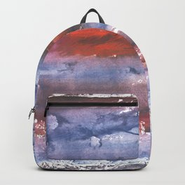 Brown Blue colored watercolor Backpack