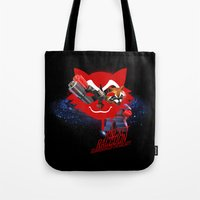 rocket raccoon Tote Bags featuring Rocket Raccoon by Markusian