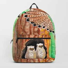 Horned Owl and Owlets in a Nest Backpack
