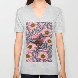 Wrens in the roses   Unisex V-Neck