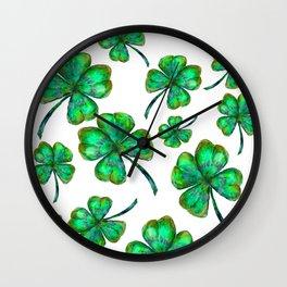 Four Leaf Clovers Pattern Wall Clock