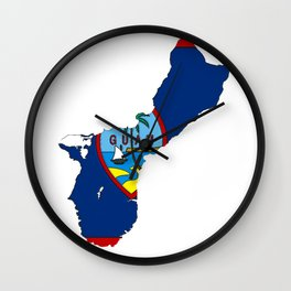 Guam Map with Guamanian Chamorro Flag Wall Clock