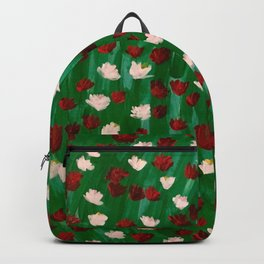 Red and White Flowers on Green Grass Backpack