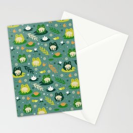 Cute little frogs pond pattern Stationery Cards
