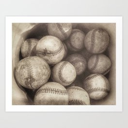 Bucket of Old Baseballs in Sepia Kunstdrucke