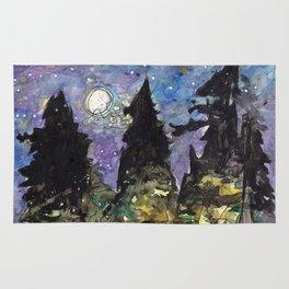 Campfire Under a Full Moon Rug