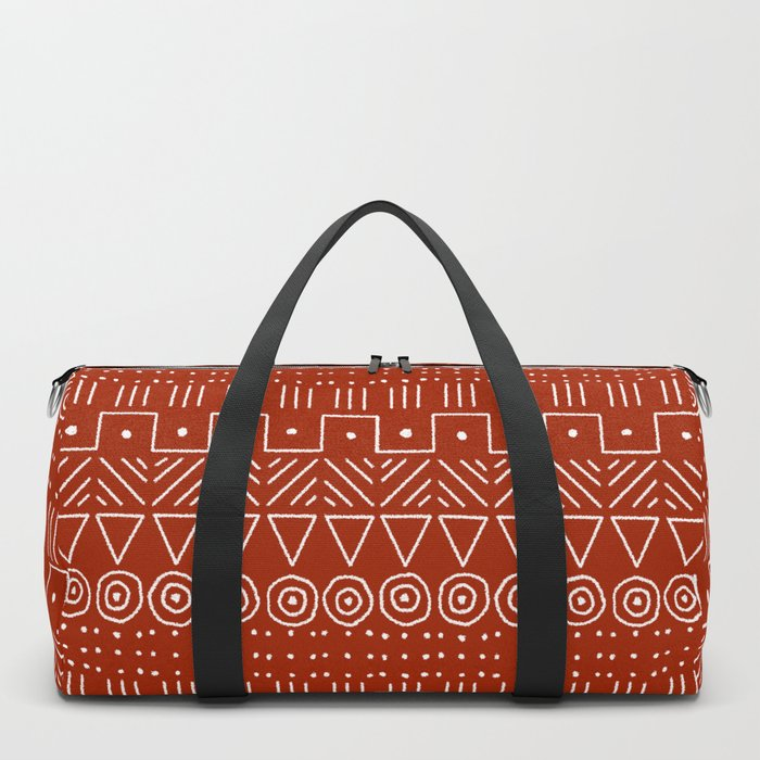 Mudcloth Style 1 in White on Red Duffle Bag