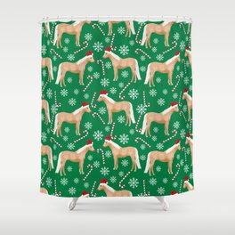 Palomino Horse Christmas - peppermint, candy cane, snowflake, christmas, green and red, santa Shower Curtain