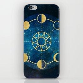 Gold Moon Phases Sun Stars Night Sky Navy Blue iPhone Skin