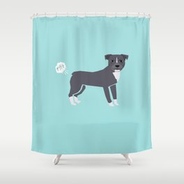 pitbull farting dog cute funny dog gifts pure breed dogs Shower Curtain