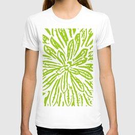 Chartreuse Flower Linocut Textile T-shirt