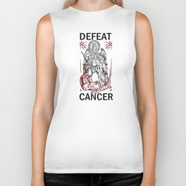 Defeat Cancer (Michael and the Dragon) Biker Tank