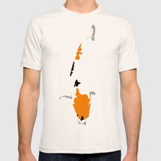 White Koi Mens Fitted Tee LARGE Natural