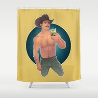 cowboy bebop Shower Curtains featuring COWBOY by artedgar