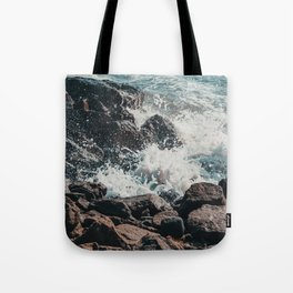 Splashing Waves on Rocks 01 Tote Bag