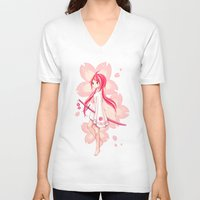 sakura V-neck T-shirts featuring Sakura by Freeminds