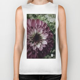 Purple PomPom Flower Biker Tank