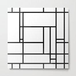 Mondrian linear pattern Metal Print
