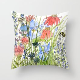 Botanical Garden Wildflowers and Bees Throw Pillow