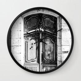 Doorway | Hotel de La Grange Nimes France Vintage Rustic Old World Black and White Architecture Wall Clock