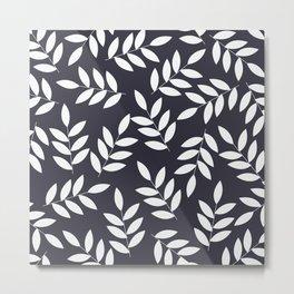 Leaves in Dark Grey Metal Print