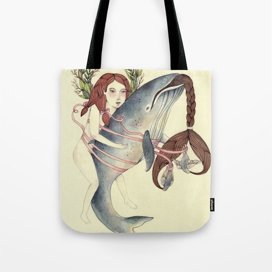 Ribbons Whale Tote Bag