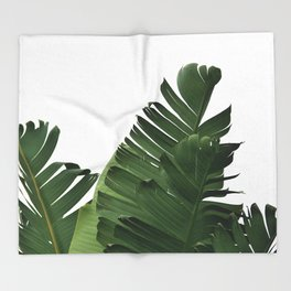 Minimal Banana Leaves Throw Blanket