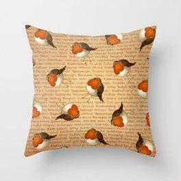 Chubby Erithacus Throw Pillow