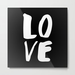 LOVE Wall Art Home Decor in Black-and-White Ink Modern Typography Poster Graphic-Design Minimalism Metal Print