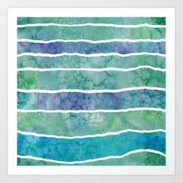 Green waves watercolor Art Print