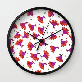 Red and Fuschia Floral Wall Clock