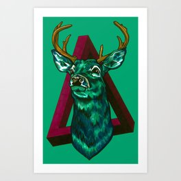 Green Stag Art Print