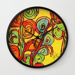 Round flowers, yellow fun Wall Clock