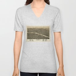 Bird's eye view of the city of Rockford, Illinois (1880) Unisex V-Neck