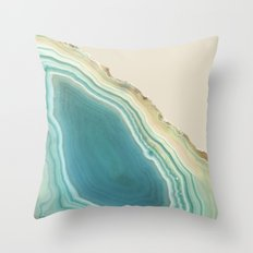 Geode Turquoise + Cream Throw Pillow