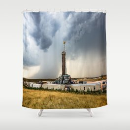 Nevermind the Weather - Oil Rig and Passing Storm in Oklahoma Shower Curtain