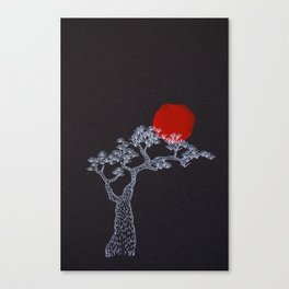 pine tree - white tree on black surface with red sun Canvas Print