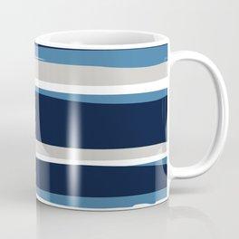 Striped Modern Beach Landscape Blue Grey Coffee Mug