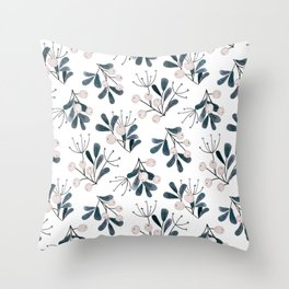 Snowberries botanical watercolor Throw Pillow