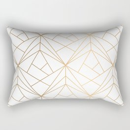 Geometric Gold Pattern With White Shimmer Rectangular Pillow