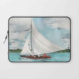 Sail Away watercolor painting of sailboat on turquoise waters Laptop Sleeve