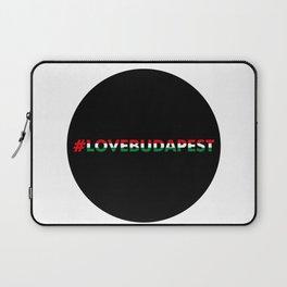 Hashtag Love Budapest, circle, black Laptop Sleeve