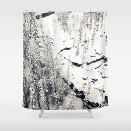 Snow on Textures of Pine Trees and Cliffs Shower Curtain